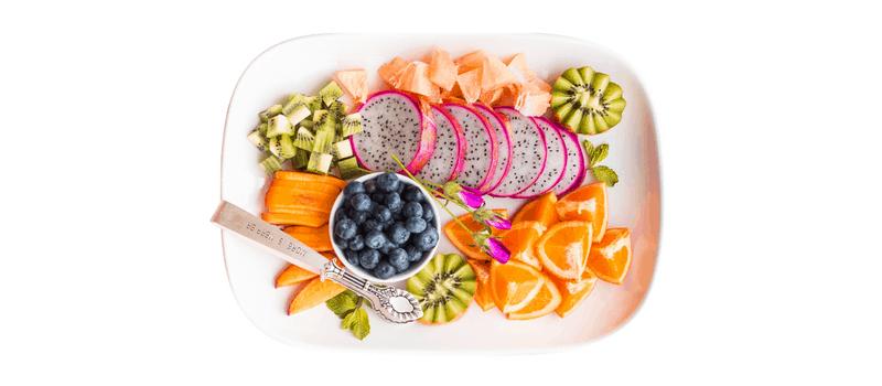 Gezond fruit op een schaal