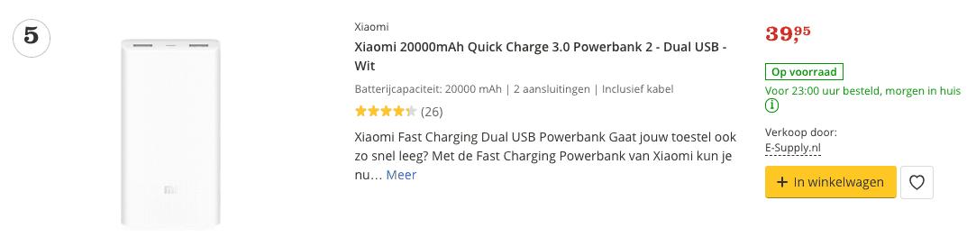 Aanbieding Xiaomi 20000mAh Quick Charge 3.0 Powerbank 2