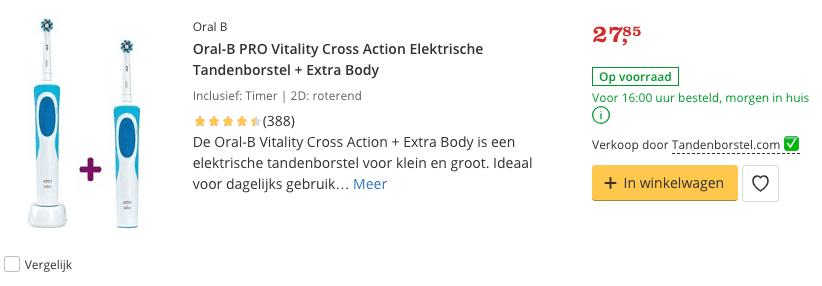 Beste PRO Vitality Cross Action Elektrische Tandenborstel