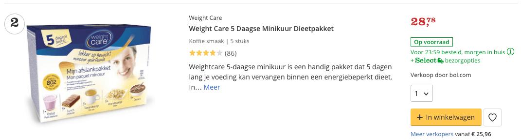 Beste maaltijdshake Weight Care 5 Daagse Minikuur Dieetpakket