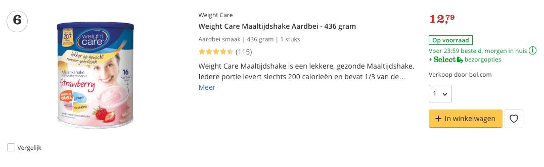Beste maaltijdshake Weight Care Maaltijdshake Aardbei