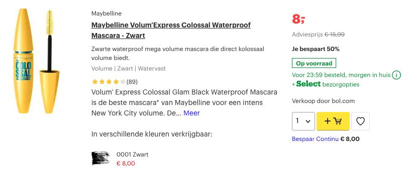 Top 5 Maybelline Volum'Express Colossal Waterproof Mascara - Zwart review