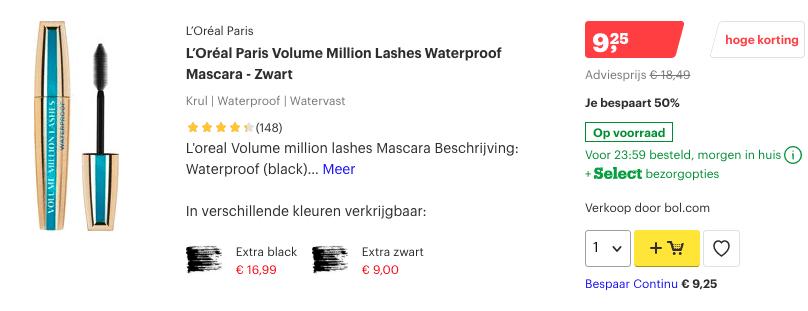 top 3 L'Oréal Paris Volume Million Lashes Waterproof Mascara - Zwart review