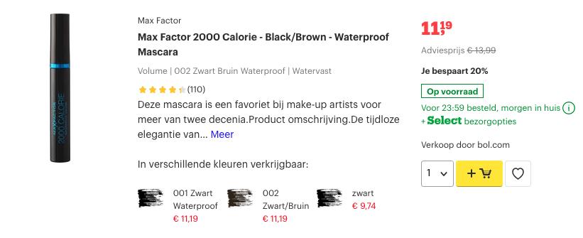 Top 4 Max Factor 2000 Calorie - Black:Brown - Waterproof Mascara review