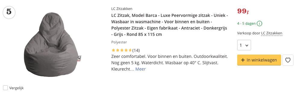 Beste top 5 LC Zitzak, Model Barca - Luxe Peervormige zitzak - Uniek review
