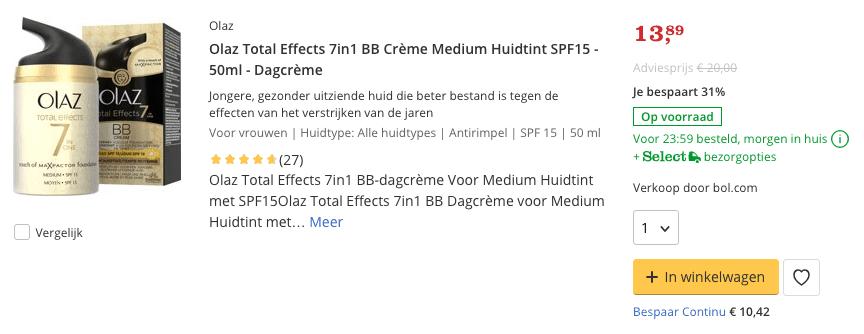 Beste top 5 Olaz Total Effects 7in1 BB Crème Medium Huidtint SPF15 - 50ml - Dagcrème review
