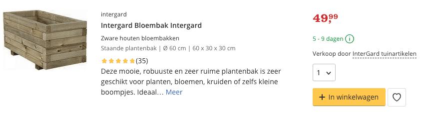 Intergard Bloembak Intergard 60x 30 x 30 cm 40 liter Top 3 review