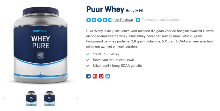 Pot met Whey Pure van Body & Fit