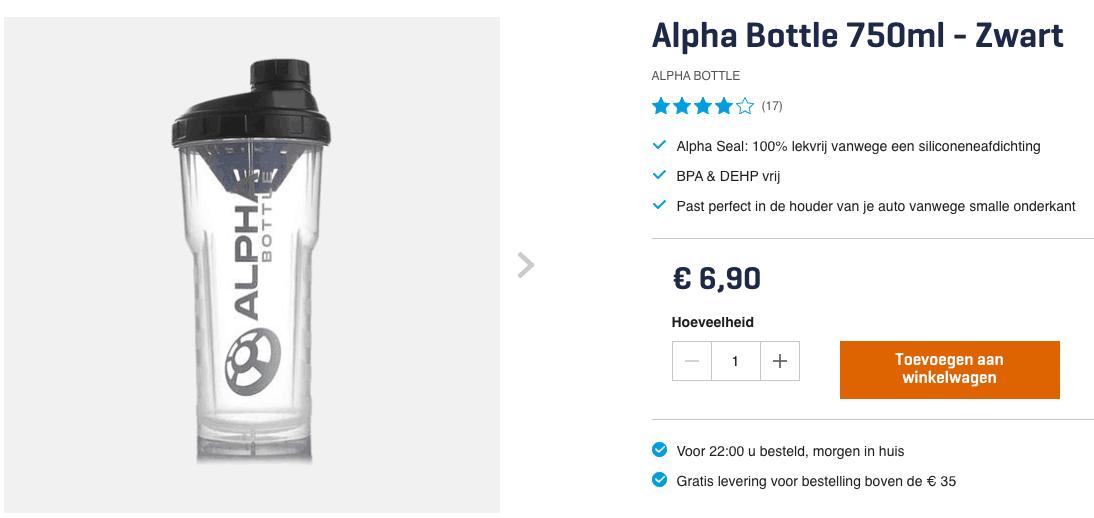 Top 4 Alpha Bottle 750ml - Zwart review
