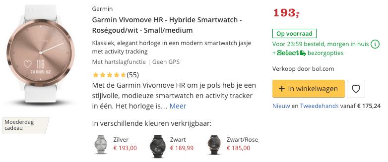 Top 3 Garmin Vivomove HR - Hybride Smartwatch - Roségoud:wit - Small:medium