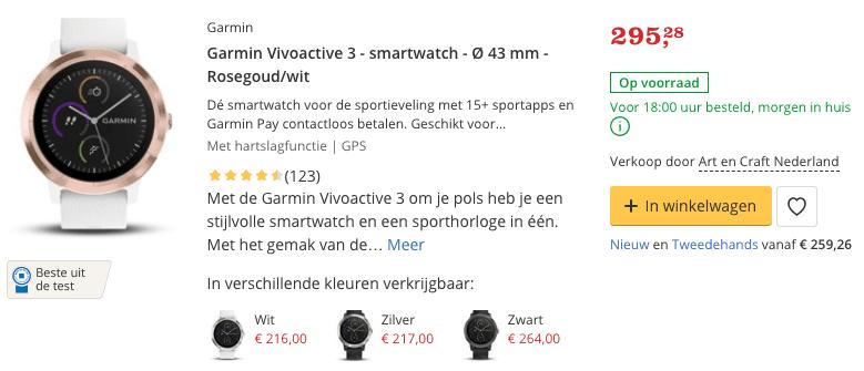 Top 4 Garmin Vivoactive 3 - smartwatch - Ø 43 mm - Rosegoud:wit review