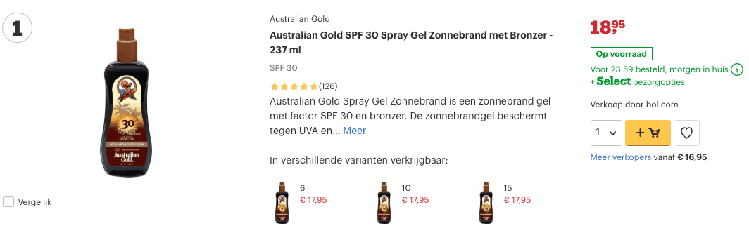 Top 1 Australian Gold SPF 30 Spray Gel Zonnebrand met Bronzer - 237 ml review