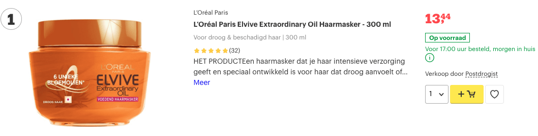 Top 1 L'Oréal Paris Elvive Extraordinary Oil Haarmasker - 300 ml review