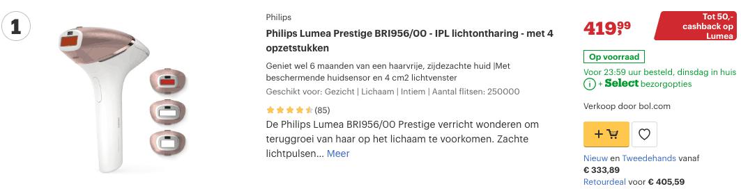 Top 1 Philips Lumea Prestige BRI956:00 - IPL lichtontharing - met 4 opzetstukken review