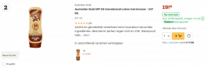 Top 2 Australian Gold SPF 50 Zonnebrand Lotion met bronzer - 237 ML review
