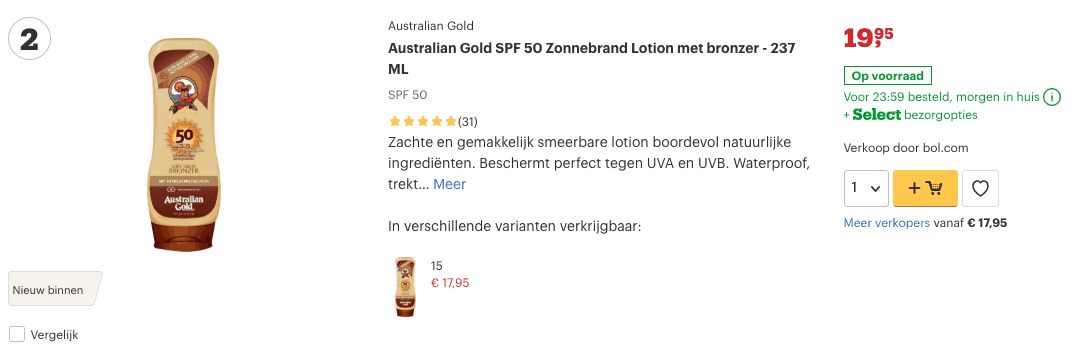 Top 2 Australian Gold SPF 50 Zonnebrand Lotion met bronzer - 237 ML review