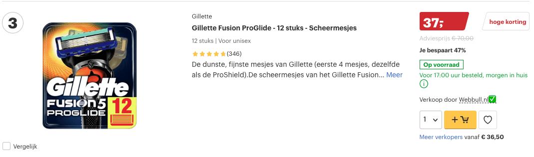 Top 3 Gillette Fusion ProGlide - 12 stuks - Scheermesjes review