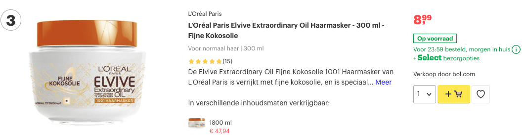 Top 3 L'Oréal Paris Elvive Extraordinary Oil Haarmasker - 300 ml - Fijne Kokosolie review