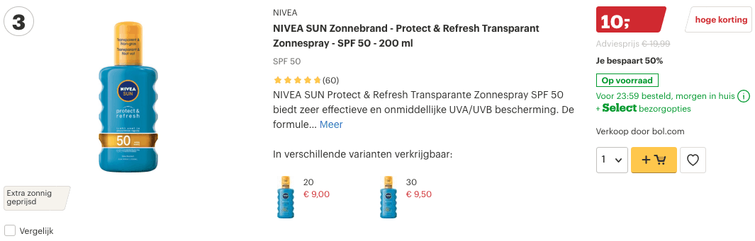 Top 3 NIVEA SUN Zonnebrand - Protect & Refresh Transparant Zonnespray - SPF 50 - 200 ml review