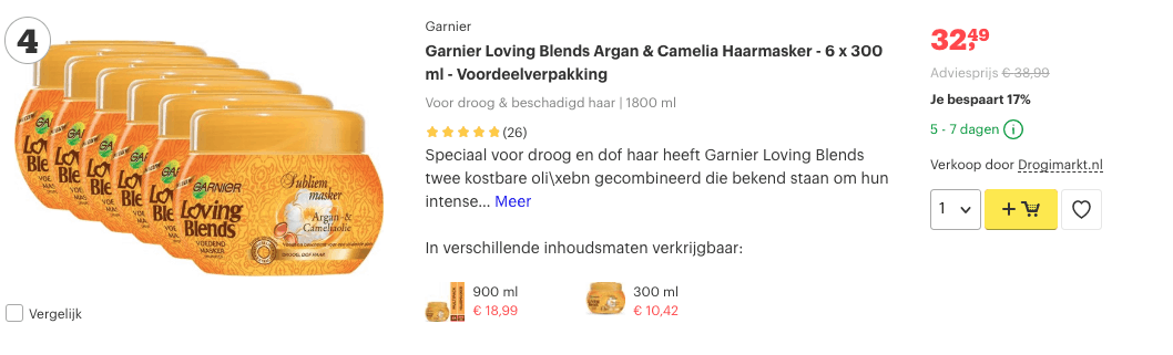 Top 4 Garnier Loving Blends Argan & Camelia Haarmasker - 6 x 300 ml - Voordeelverpakking review