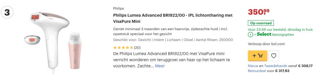 top 3 Philips Lumea Advanced BRI922:00 - IPL lichtontharing met VisaPure Mini review
