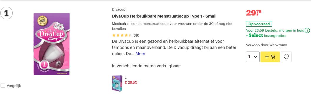 Top 1 DivaCup Herbruikbare Menstruatiecup Type 1 - Small review