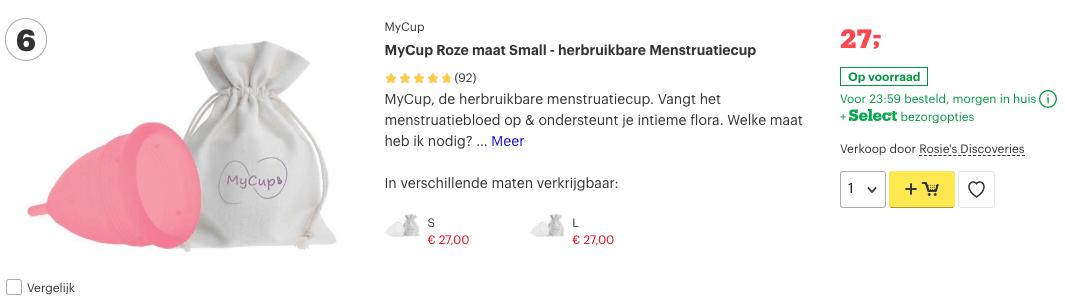 Top 3 MyCup Roze maat Small - herbruikbare Menstruatiecup reviews