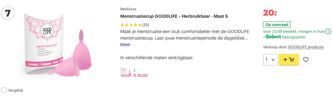 Top 4 Menstruatiecup GOODLIFE – Herbruikbaar - Maat S review