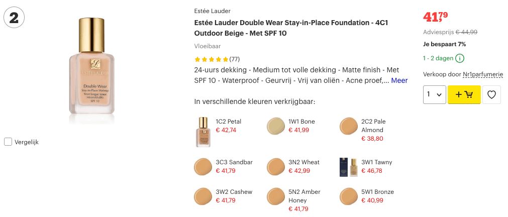 Top 2 Estée Lauder Double Wear Stay-in-Place Foundation - 4C1 Outdoor Beige - Met SPF 10 review