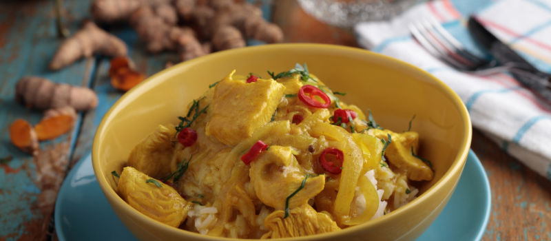 Indiase curry schotel met kip